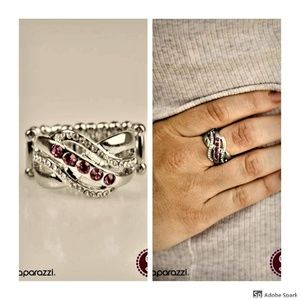 Flirting With Sparkle - Pink & Silver Stretch Ring